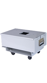 Self locking coin box with trolley